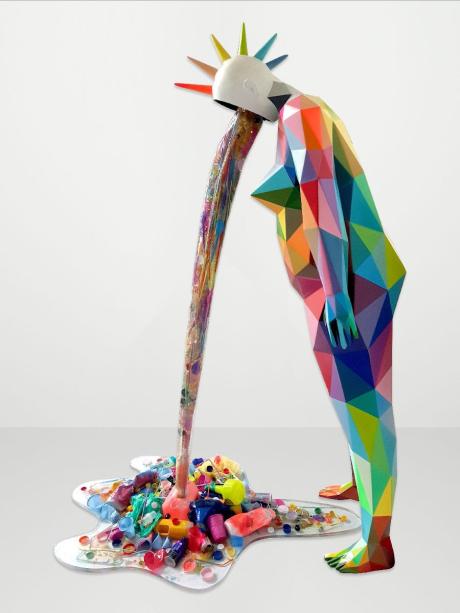 Diversas feiras de arte acontecem paralelamente à Art Basel. A Scope Art Fair, reconhecida por lançar novos talentos, apresenta um pavilhão inteiro experimental, com exibições de larga escala e performaces musicais. Na foto, a obra Pollution Vomit, de Okuda San Miguel.