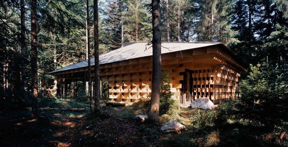 O Wood/Pile é vencedor da categoria Arquitetura de Assistência Médica. A assinatura é do escritório Kengo Kuma & Associates.