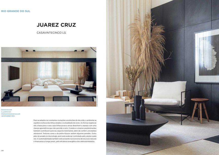 A marca da Casavintecinco LG é a dualidade de cores, reforçada por linhas puras e geométricas que delimitam o espaço. O projeto é de Juarez Cruz para a CASACOR Rio Grande do Sul.