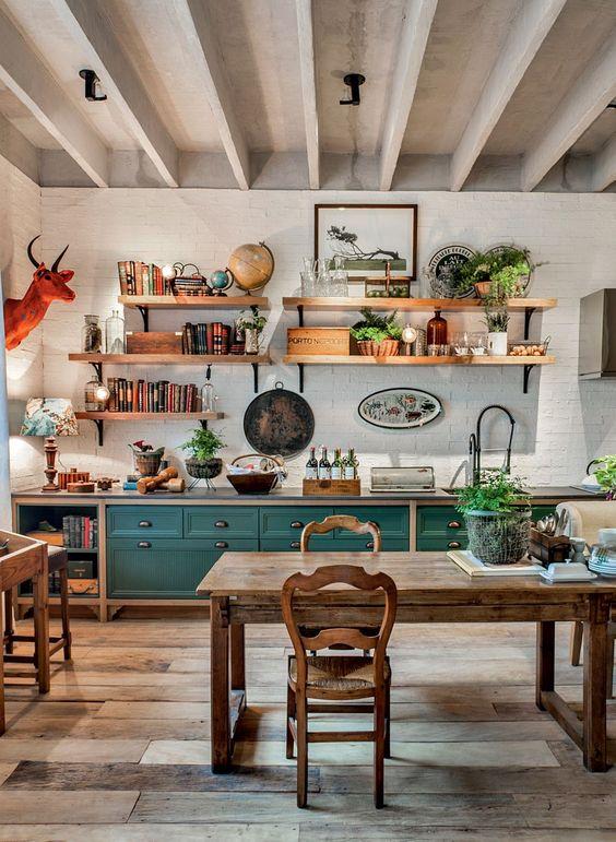 cozinha vintage retro decoração madeira