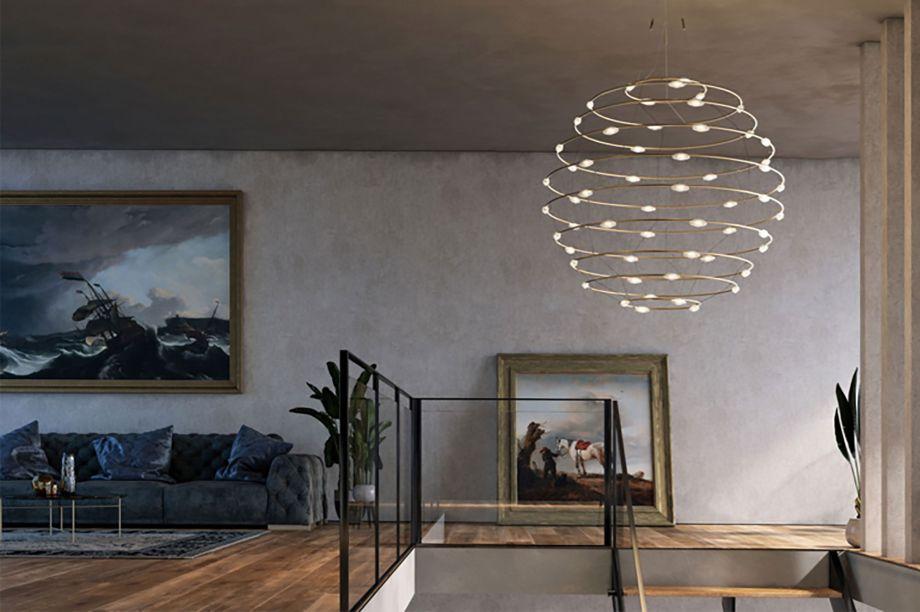 Petis Bijoux é a representação do infinito e da perfeição, idealizados em uma forma esférica. O pendente tem design simples mas desponta com seu acabamento extraordinário. Como uma pequena galáxia de LEDs e bronze, a luminária é de Catellani & Smith.