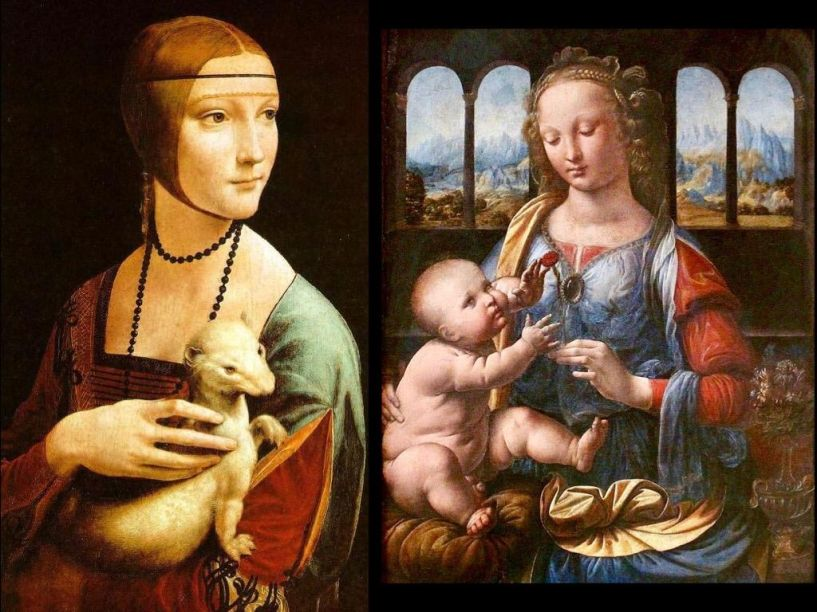 La Dama con l'ermellino (1488-1490) e Madonna del Garofano (1473 a 1478), de Leonardo da Vinci.