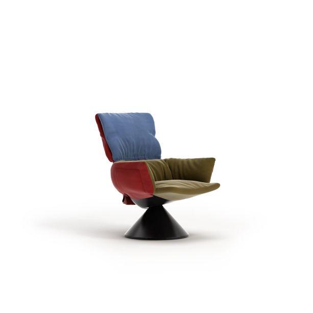 A poltrona Lud'o, de Patricia Urquiola para a Cappellini é uma peça de mobiliário que pode se transformar de acordo com as estações do ano. Sua estrutura interna de plástico reciclado usa uma cobertura de tecido que pode ser alterada a critério do usuário.