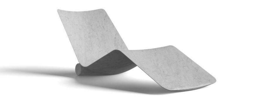 Curl é o novo projeto desenhado por Piero Lissoni para Salvatori . A chaise longue mármore , obtida a partir de um único bloco de pedra natural , com o uso da mais avançada tecnologia CAD / CAM. É um assento com um design essencial e elegante, onde apenas o que era supérfluo foi removido do mármore.