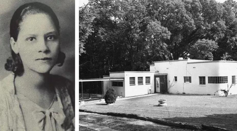 <strong>Amaza Lee Meredith (1895-1984). </strong>Meredith nasceu na Virgínia, nos Estados Unidos e, apesar da segregação racial, formou-se com honras em Belas Artes em (1930) na Universidade de Columbia e desenvolveu seu mestrado na mesma instituição em 1934. Ela presidiu o Departamento de Artes da Universidade da Virgínia por mais de duas décadas e, embora nunca tenha recebido formação específica realizou trabalhos de arquitetura. O mais conhecido deles foi sua própria residência, a Azurest South, 1938, um exemplo de estilo internacional. Na foto,Amaza Lee e a casa Azurest South.