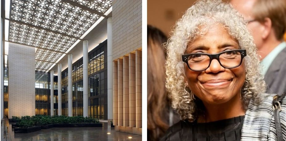 """<strong>Allison Williams.</strong>Fundadora do escritório AGWms_studio, Williams se destaca pela interdisciplinaridade de seus trabalhos, os quais conectam arquitetura, tecnologia, cultura, sustentabilidade e, sobretudo, diálogo com as particularidades de cada obra. Com mais de três décadas de carreira, ela coleciona participações em palestras e eventos além de uma menção na lista """"Mulheres Mais Influentes de 2014"""" pelo San Francisco Bussiness Time. Atualmente, também colabora como professora convidada na Universidade de Stanford. Alguns de seus projetos são Universidade Princess Nora Abdulrahman na Arábia Saudita, o Laboratório de Medição Científica no Centro de Pesquisa Langley da NASA e o Cultura Afro-Americana em Pittsburgh. Na foto, Allison e a Universidade Princess Nora Abdulrahman na Arábia Saudita."""