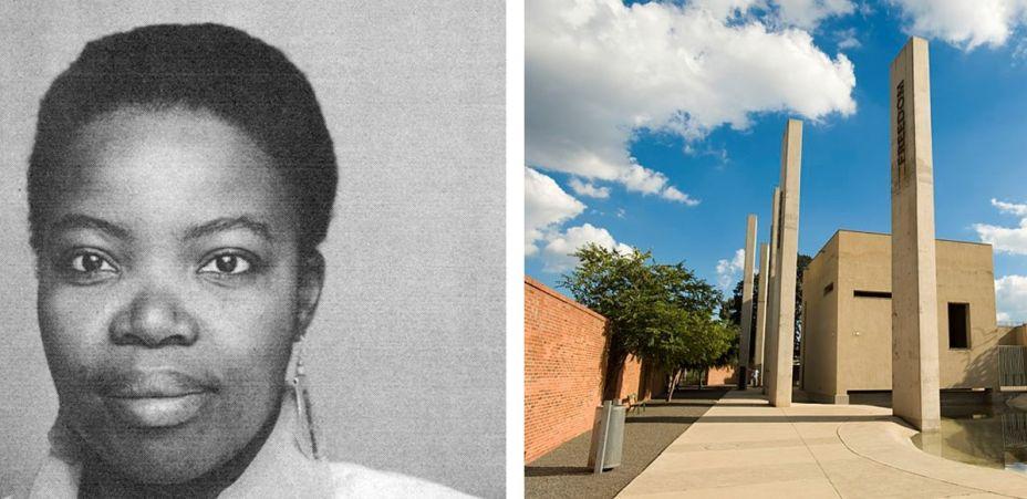 """<strong>Linda Mvusi.</strong>Além de arquiteta, Mvusi também é uma atriz sul-africana. Ela se formou na década de 1980 na Universidade de Ciência e Tecnologia de Gana e, depois de atuar no filme """"A World Apart"""" (1988), de Chris Menges, foi responsável por coordenar o projeto do Museu do Apartheid, em Joanesburgo, em 2001. Pelo filme, Mvusi foi a primeira mulher sul-africana a receber a Palma de Ouro em Canne, já como arquiteta, foi premiada pelo Instituto de Arquitetos da África do Sul. Atualmente, possui seu próprio escritório, Mvusi & Mvusi Architecture & Design. Na foto, Linda e o Museu do Apartheid."""