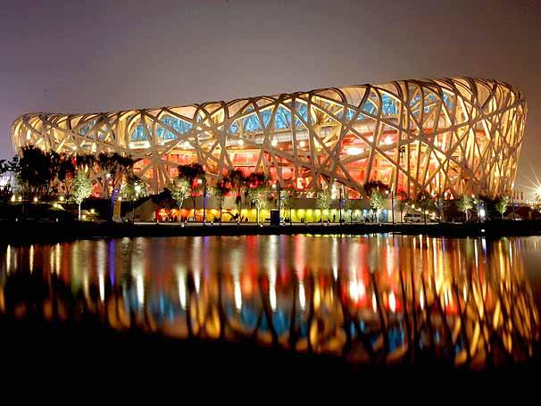"""Estádio Nacional de Pequim, o """"ninho do pássaro""""."""