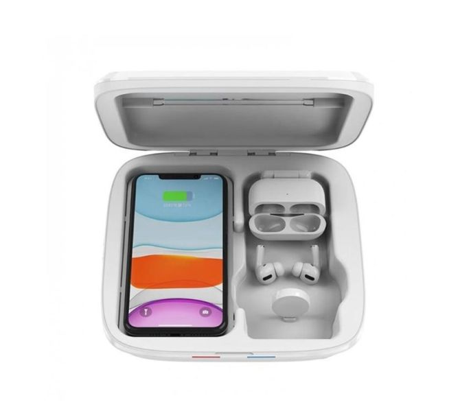 Esta caixa foi pensada para desinfectar smartphones, fones de ouvido e relógios. A peça, da marca Kubbick, funciona com uma luz ultravioleta que remove praticamente todas as bactérias em apenas 3 minutos. Além de esterilizar, a caixa também é um carregador por indução de 10W.