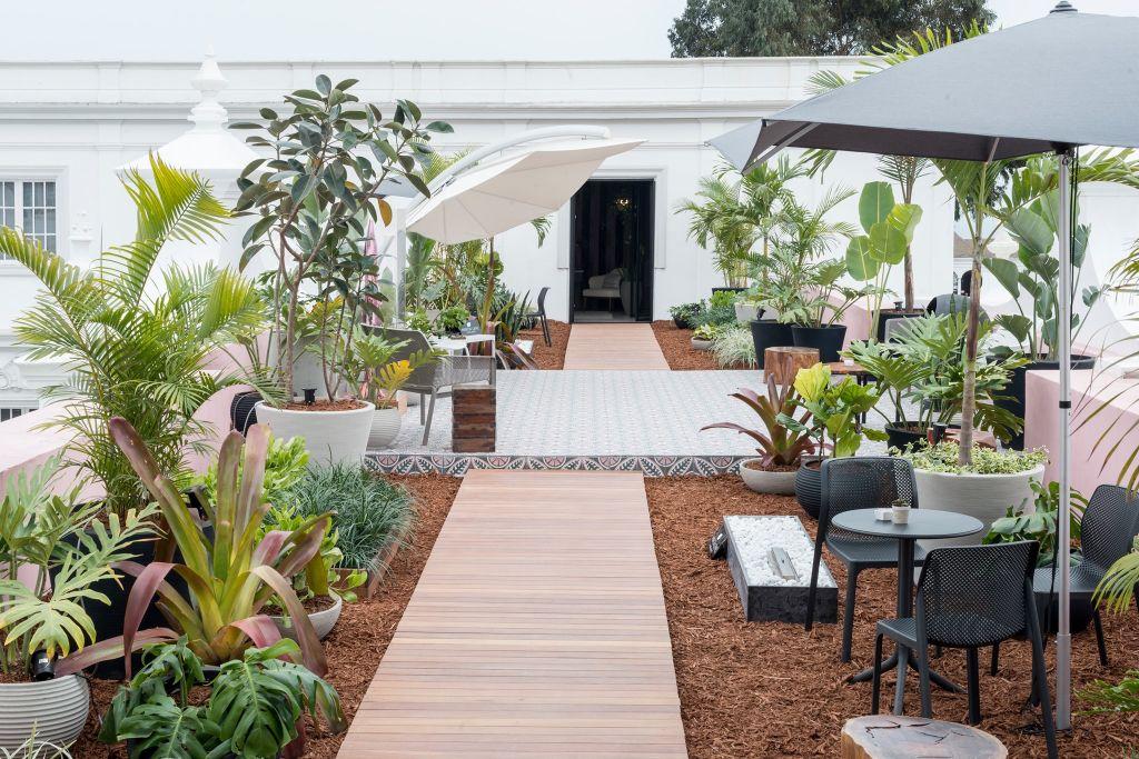 Jardim com caminhos de madeira, folhagens e mesa e cadeira externas à direita