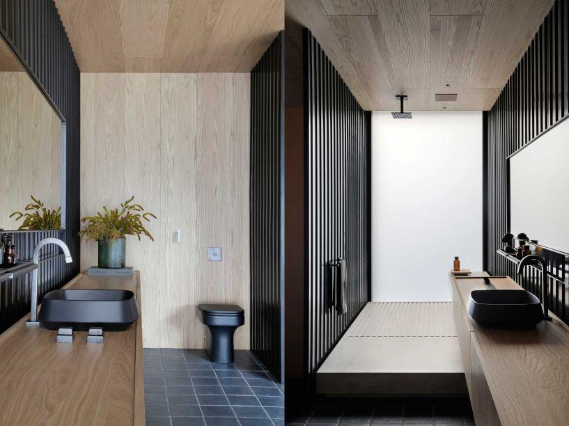 Idealizado para levar ao público a sensação latente de acolhimento e bem-estar, o banheiro da suíte conta com placas onduladas metálicas, provenientes de reaproveitamento. Elas foram utilizadas nas divisórias do dormitório e do banheiro, conferindo à eles um visual industrial.