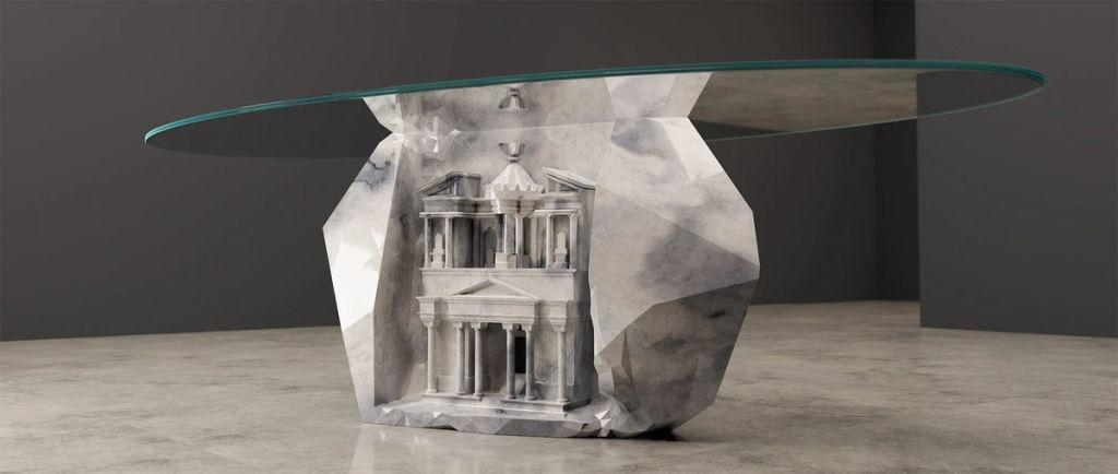Mesa esculpida em mármore branco