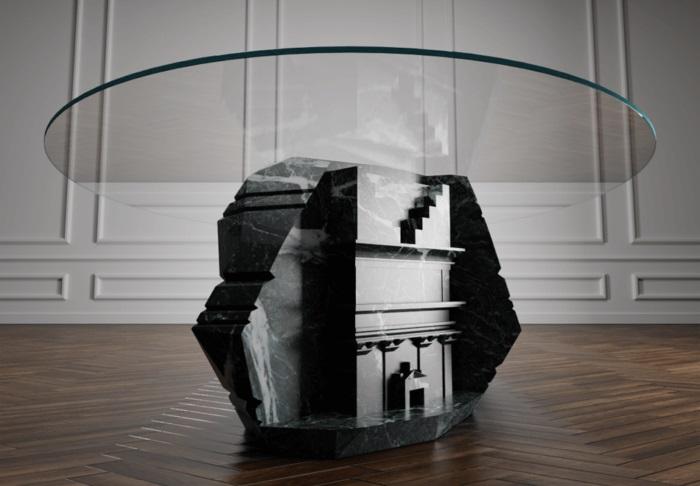Mesa esculpida em mármore preto