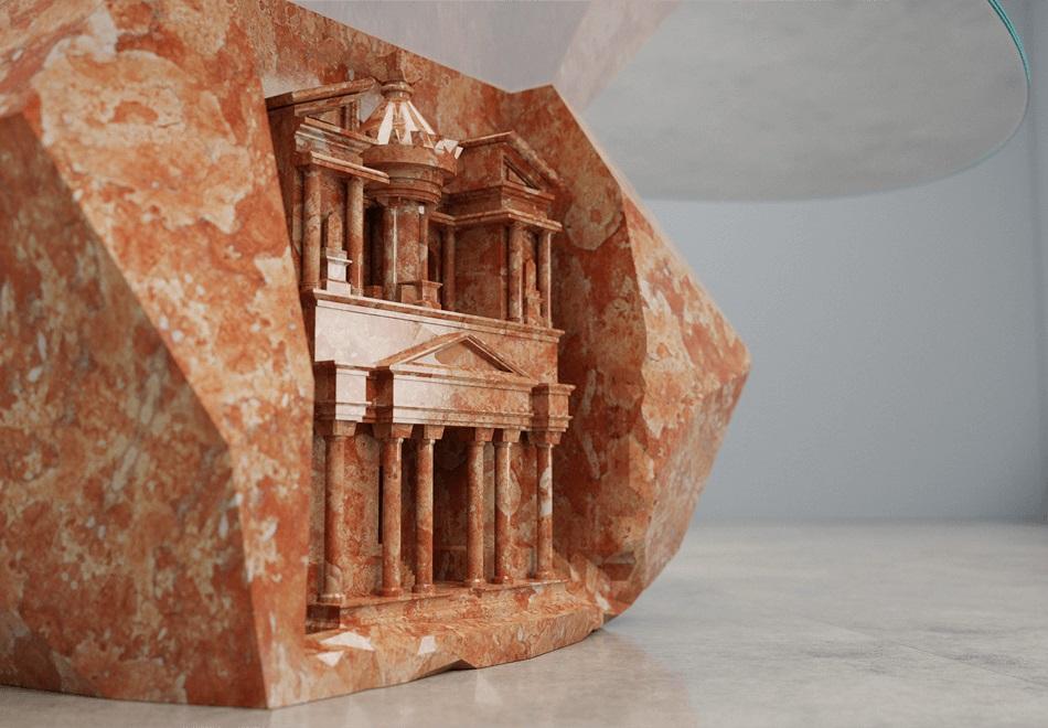 Mesa esculpida em mármore coral