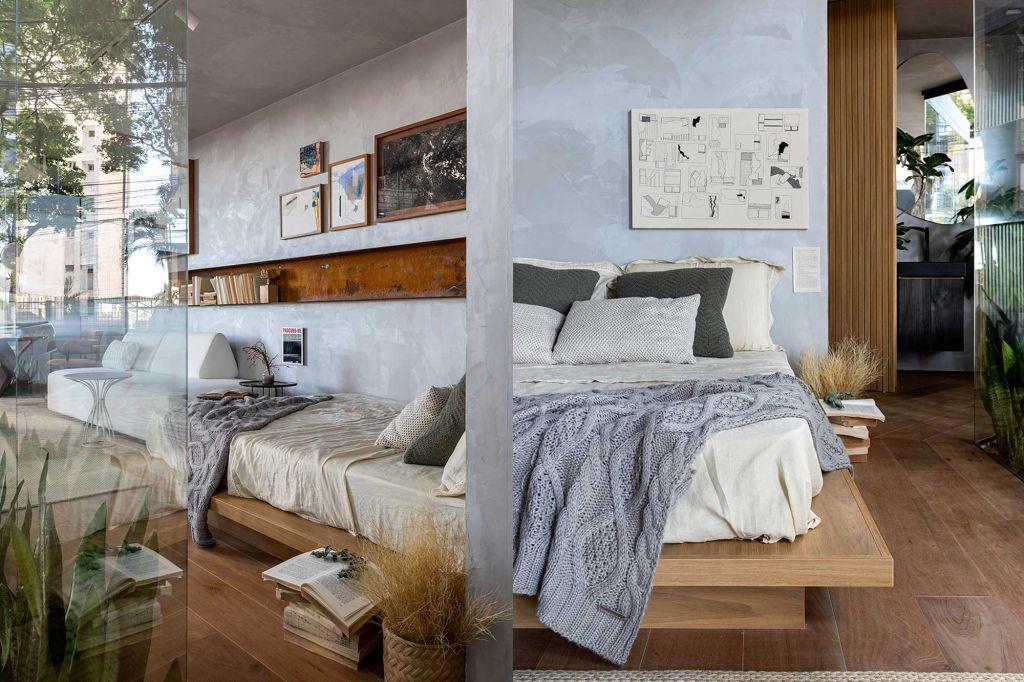 Imagens da cama com parede de cimento queimado ao fundo