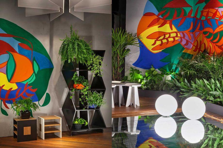 Refúgio Natural - Mutabile Arquitetura. Com forte presença de elementos naturais, como o paisagismo assinado por André Orsini, o espaço de Isabel Brant e Gabriel Souza forja um espelho d'água a partir de diferentes tamanhos de espelhos, emoldurados por um deck em madeira.
