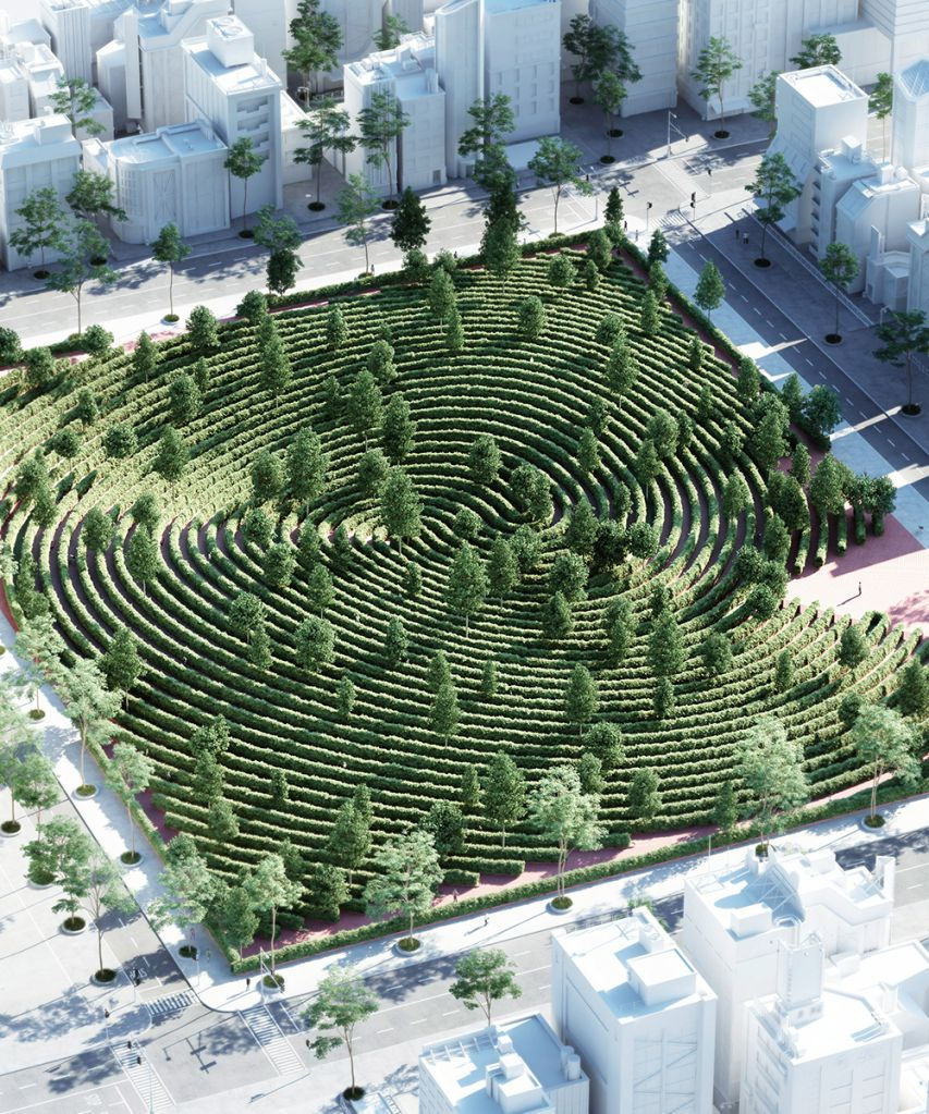 Imagem renderizada aérea do parque se destacando do entorno urbano