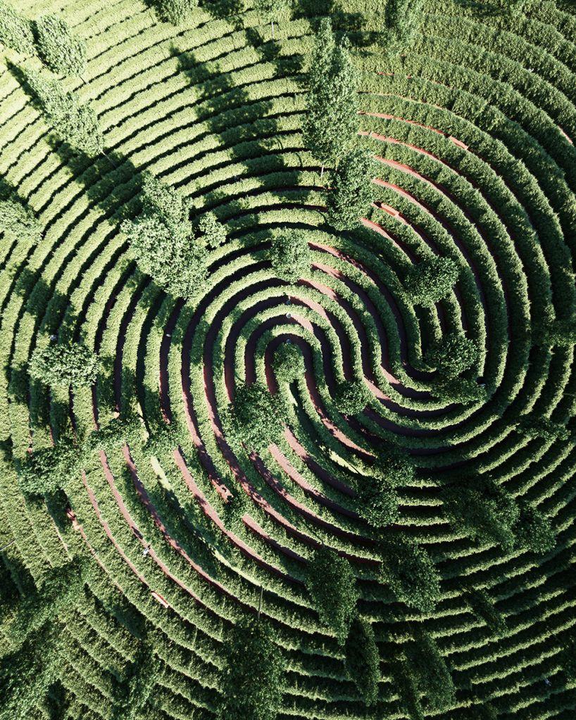 Imagem renderizada aérea do centro da espiral com algumas árvores
