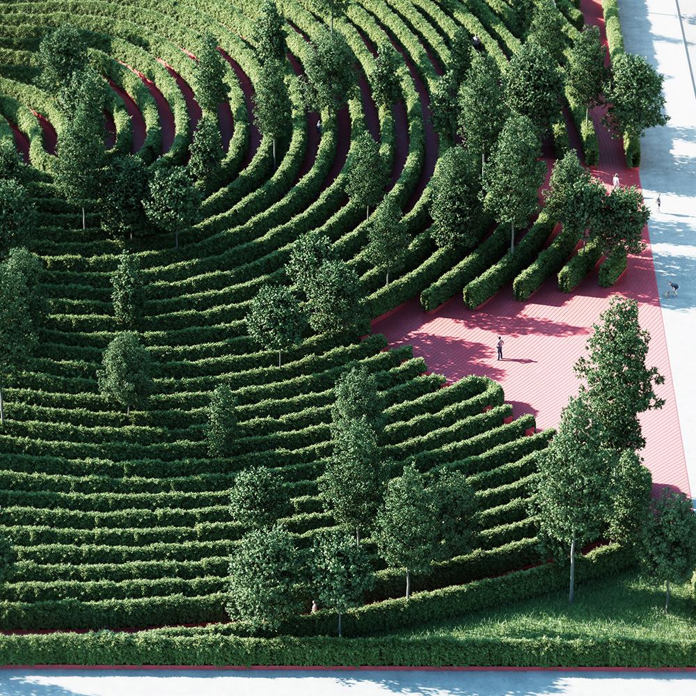 Imagem renderizada aérea da entrada do parque com um visitante