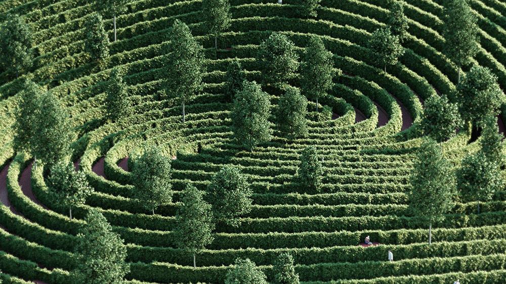Imagem renderizada do labirinto em espiral de arbustos, sebes e algumas árvores