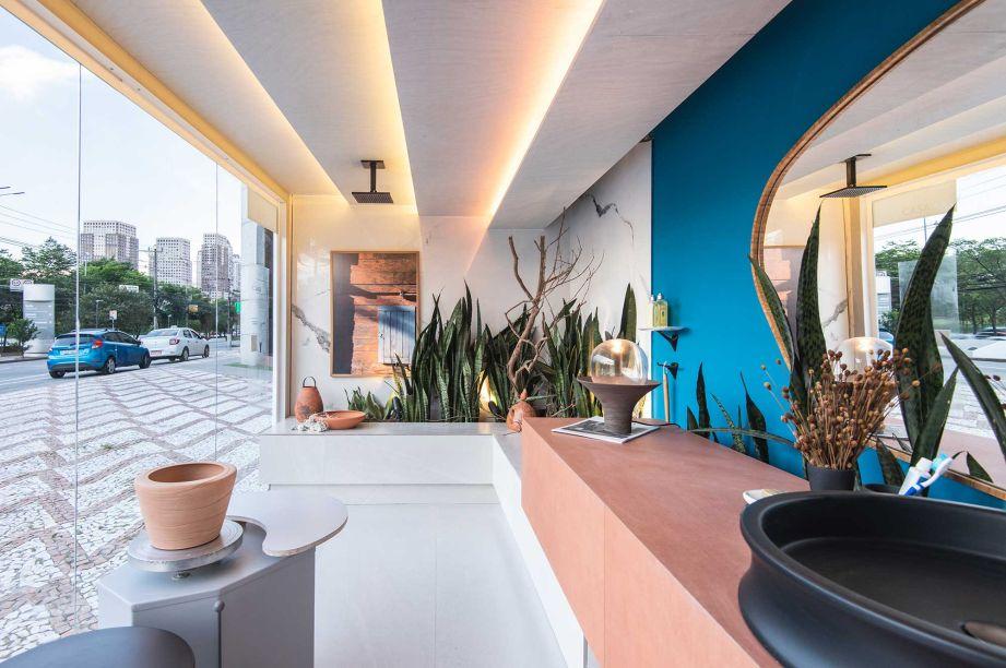 Sala de Banho do Ceramista, por Marcelo Diniz e Mateus Finzetto para o Janelas CASACOR São Paulo.