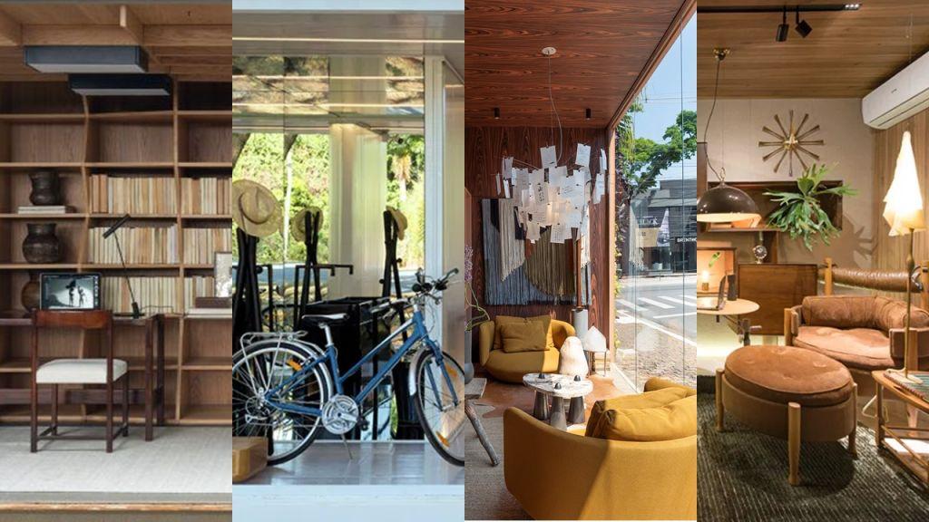 Imagem composta por detalhes de quatro home offices do Janelas CASACOR