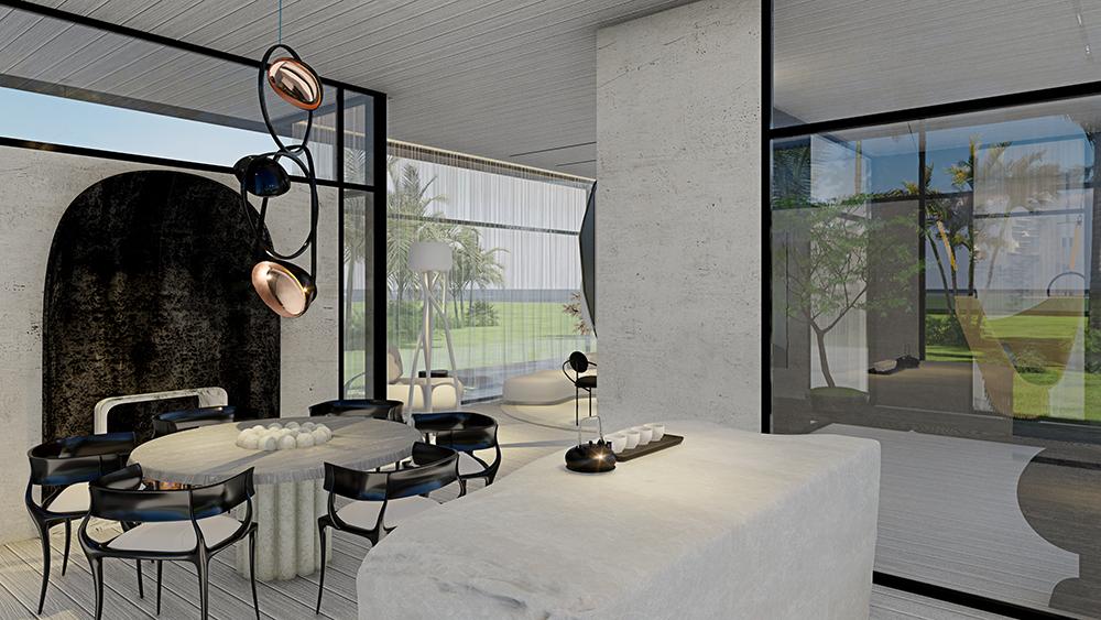 Sala de jantar com mesa, piso e paredes brancas. Cadeiras pretas e lustre geométrico acima
