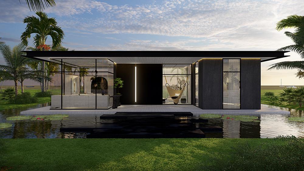 Vista frontal da casa. Lago em volta. Paredes em madeira escura alternada por grandes vidros