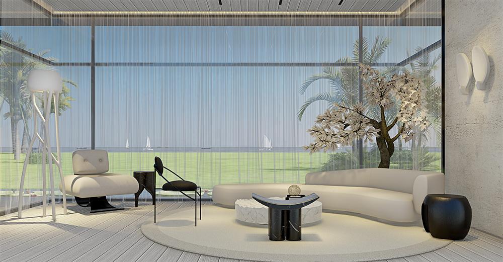 Living Branco com janela ao fundo. Piso, sofá e tapete brancos. Cadeira e mesa de centro pretas