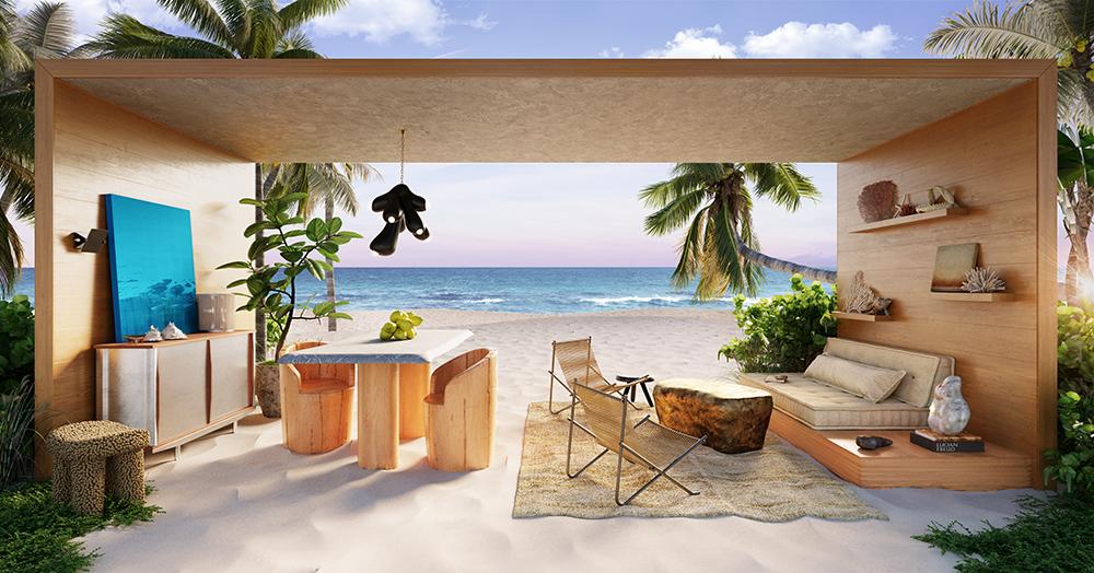 Conteiner sem paredes na praia. Living com sofá, mesa e cadeiras