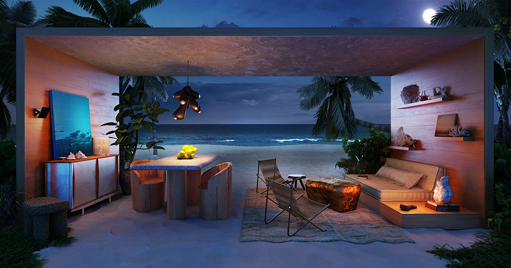 Conteiner sem paredes na praia. Living com sofá, mesa e cadeiras. Noturno