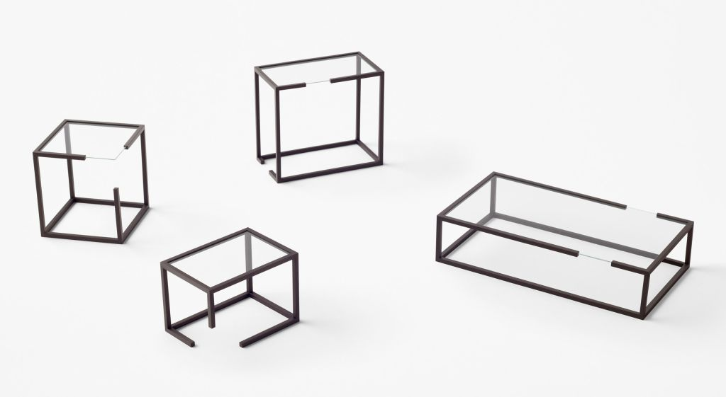 mesas laterais em formato de cubo por Nendo Design