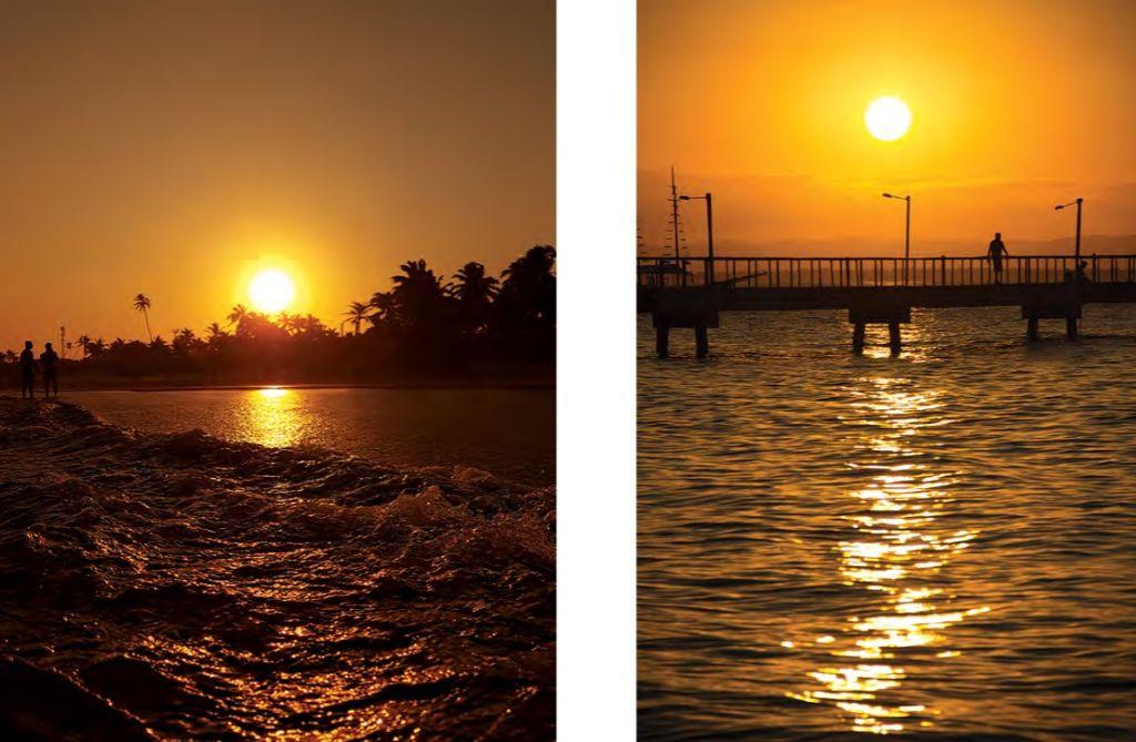 Duas imagens do pôr do Sol sobre o mar