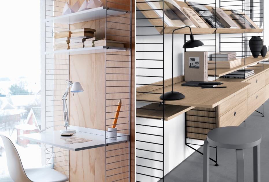 à esquerda, mesa branca e suportes brancos junto com cadeira eams. À direita, suporte metálico preto abrigando mesa em madeira