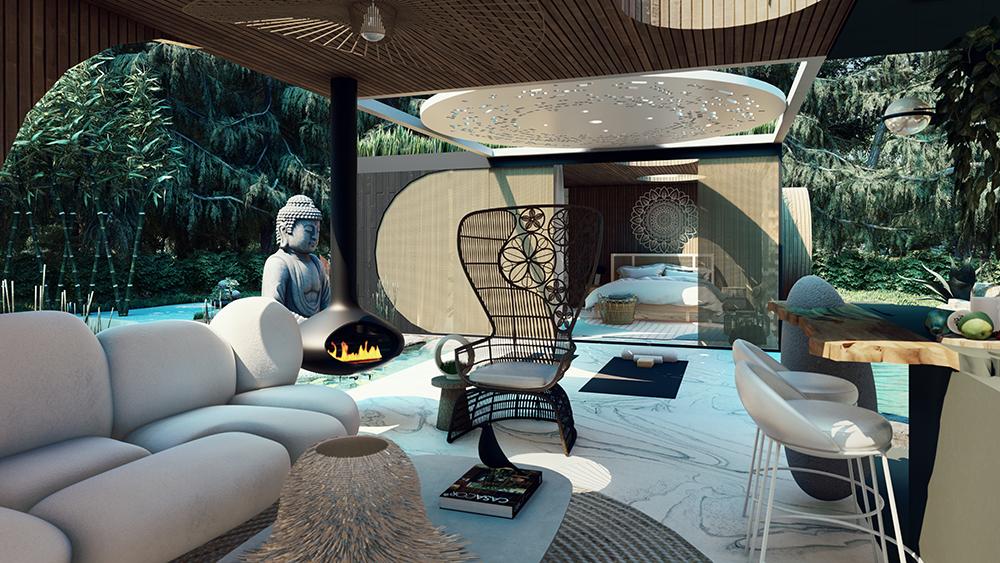 Área externa com sofá, cadeira, bancada de cozinha, lareira e escultura de buda ao fundo