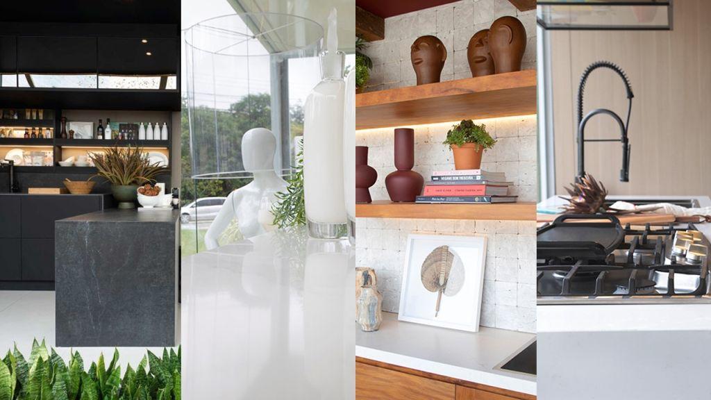 Montagem com detalhes do revestimento dos espaços Pra Que Mais, Simplicidade, Tempero da Vida e Espaço Sagrado