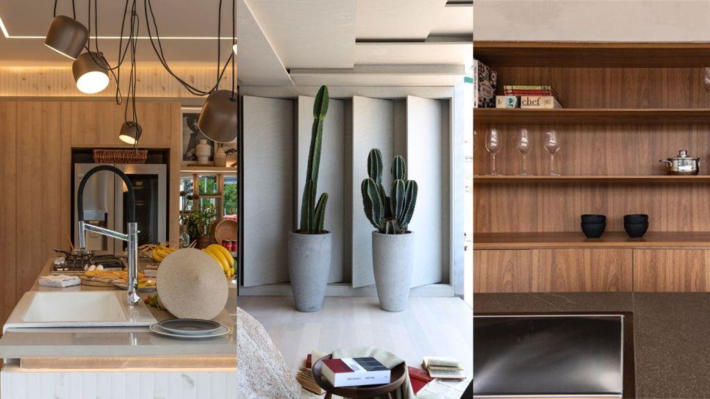 Da direita para a esquerda, bancada da Cozinha Canvas Deca, parede lateral do Solarium, estante da Cucina Essenzial