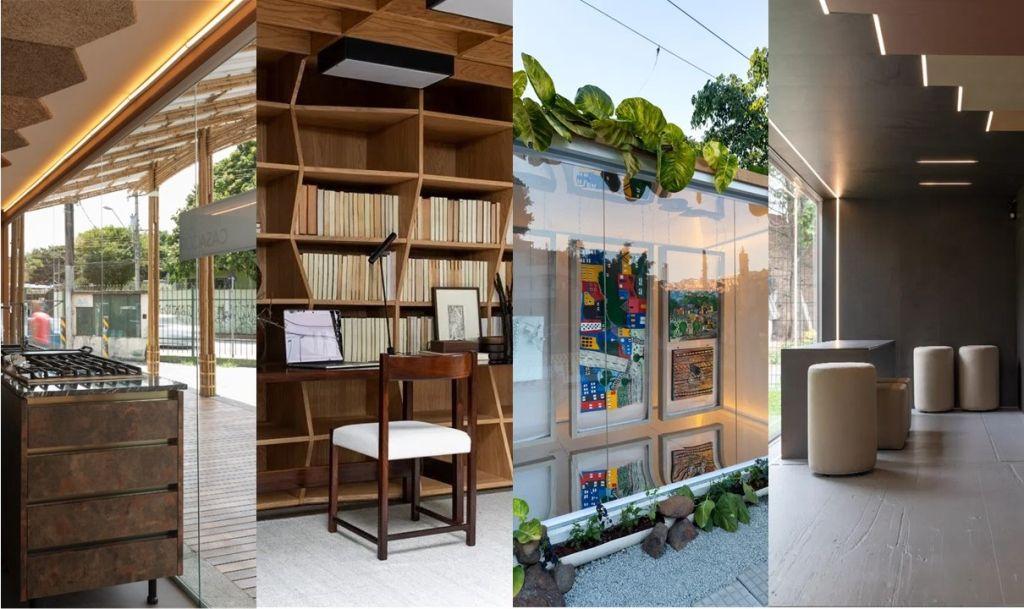 Montagem de 4 imagens: bancada da Cozinha comunitária, mesa e cadeira da Caixa de Histórias, obras de arte na Galeria Fazendinhando, mesa e pufes do Atelier