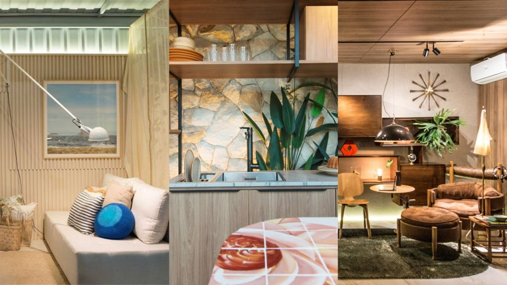 Imagem com três ambientes do Janelas CASACOR Ceará: sofá cama da Cabana ao Vento, detalhe da ilha da cozinha Sabores da vida e poltrona da Sala do Empreendedor