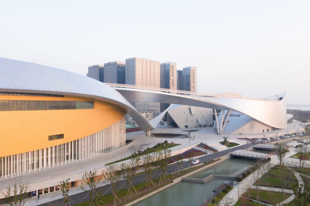Visão de fora do Suzhou Bay Cultural Center