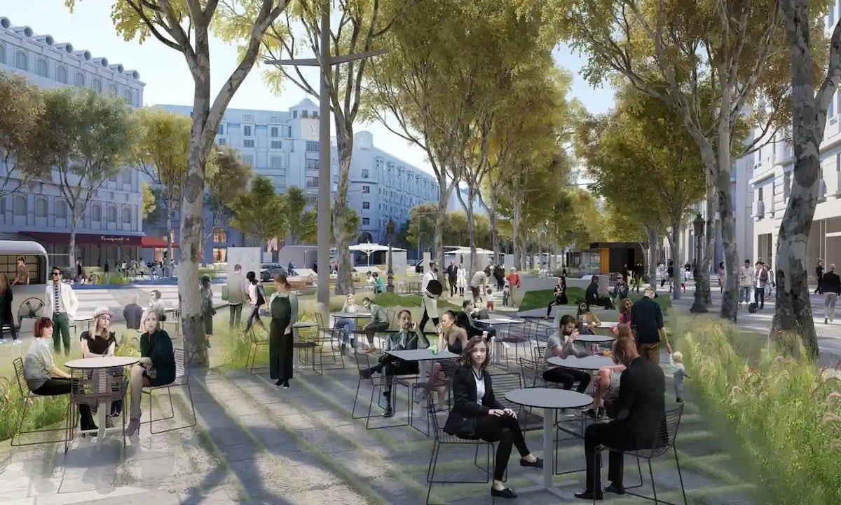 Ilustração do futuro projeto de jardim urbano linear em Paris.