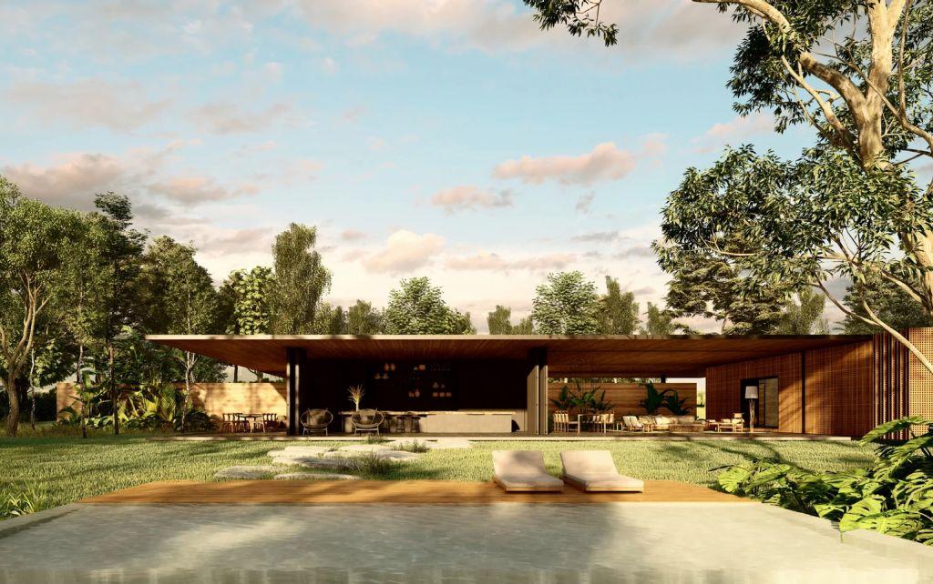 Render da Casa Muxarabi, do escritório MF+ Arquitetura