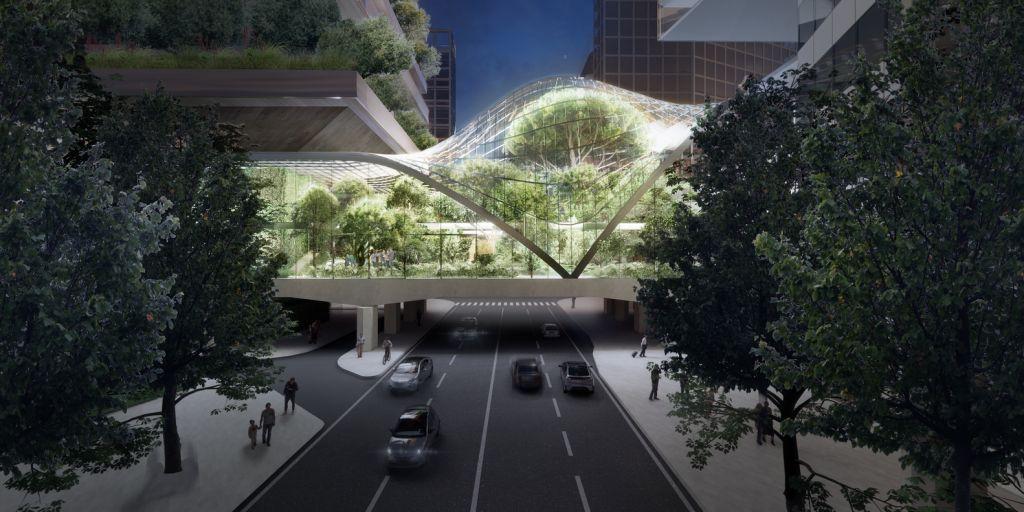 Renderização dde passarela transparente ligando dois prédios. Na parte interna há árvores e jardim