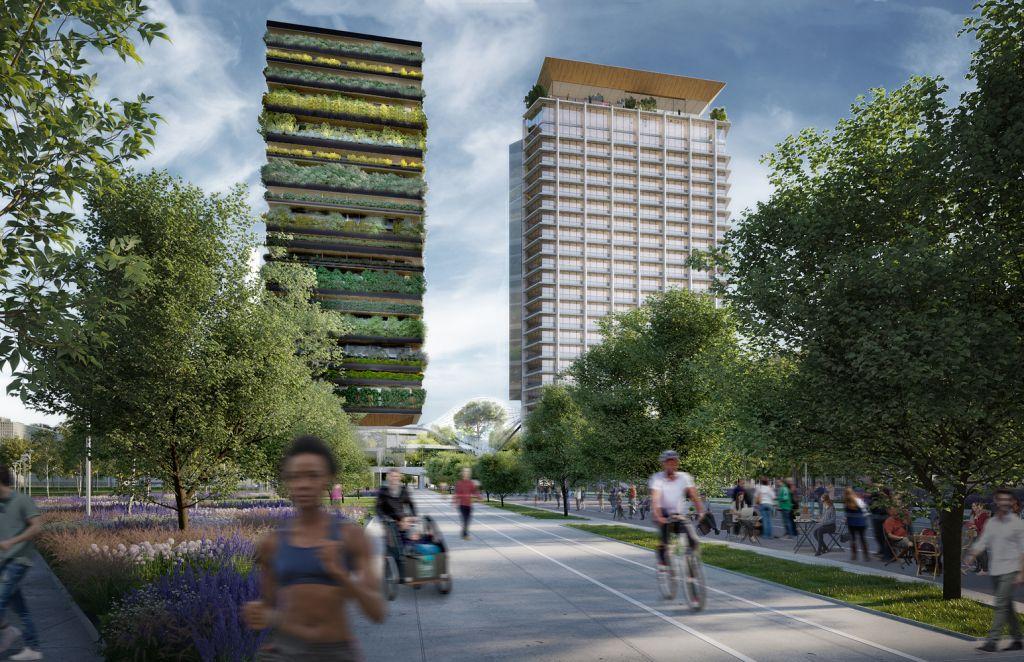 Renderização de área externa em volta das torres com pessoas se exercitando