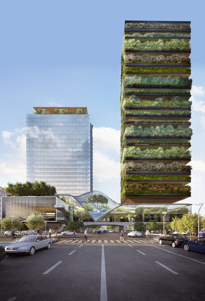 Renderização de duas torres, uma mais ao fundo, espelhada e a outra coberta por jardins verticais e plantas