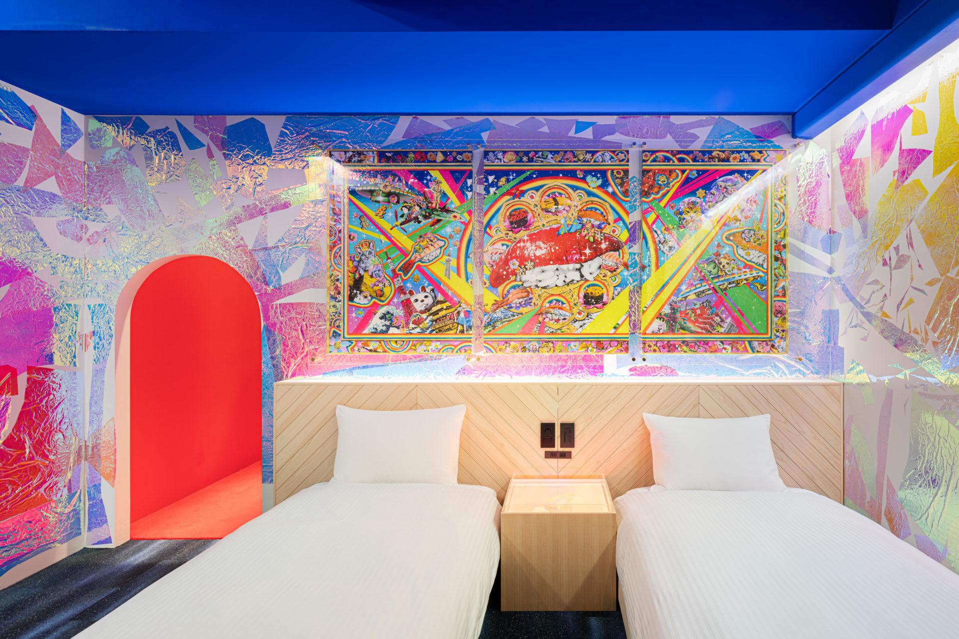 Hotel ou galeria de arte - Quarto Sushi wars, do hotel BnB Wall, localizado em Tóquio, Japão