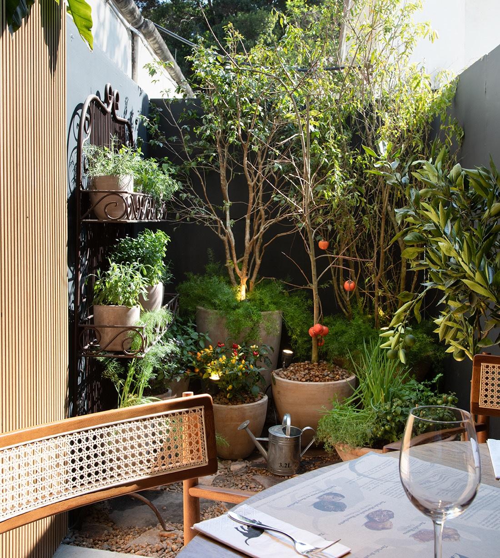 Jardim com árvores frutíferas feito de vasos - Bia abreu - CASACOR