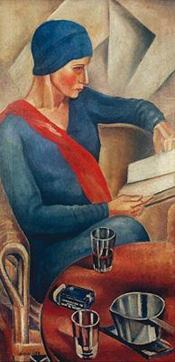 obra retrato de vera azevedo por Antonio Gomide. Na imagem, uma pintura de uma mulher vestida com blusa azul lendo um livro.