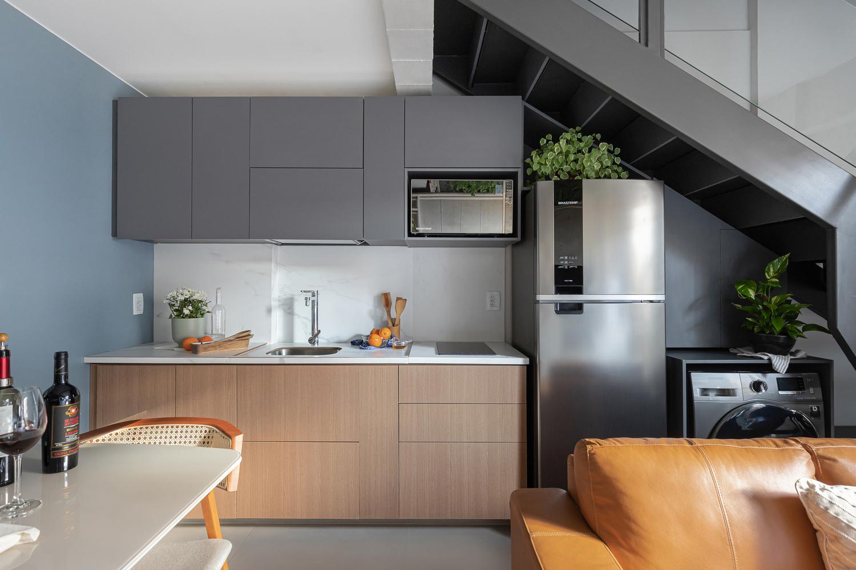 Cozinha; apartamento pequeno; design; decoração; espaço pequeno