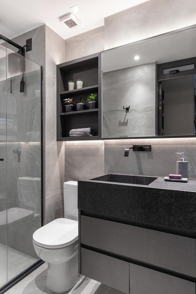 Banheiro; apartamento pequeno; design; decoração; espaço pequeno